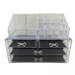 Portatrucco in plexiglass trasparente