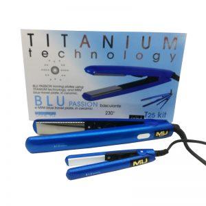 Piastra per capelli blu passion titanium