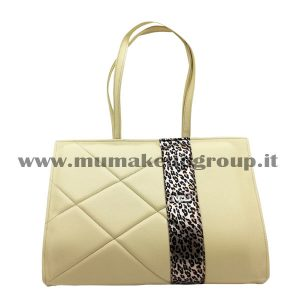 Borsa a cartella con fascia leopardo mu make up