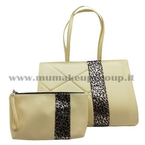 Kit borsa cartella + borsello con fascia leopardo mu make up