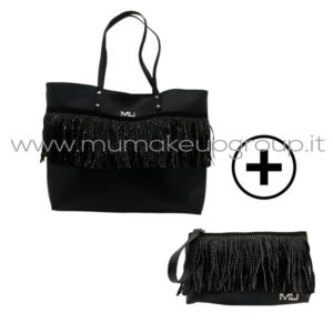 borsa + pochette con frange e borchie