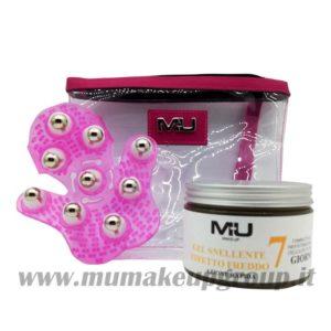 kit gel snellente + guanto massaggio + pochette trasparente
