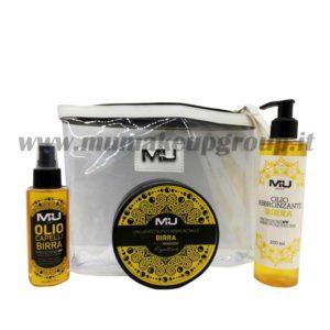 kit olio abbronzante + unguento 200 ml +olio capelli + pochette trasparente