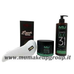 kit shampoo olio 31 + maschera olio 31 + spazzola districante