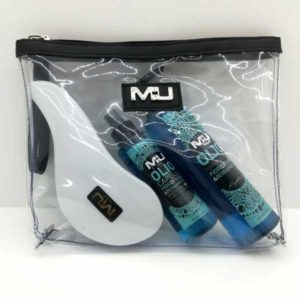 kit pochette trasparente + olio capelli + olio abbronzante + spazzola