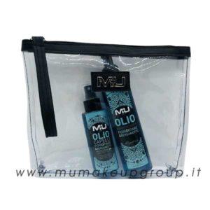 kit mare olio corpo + olio capelli + pochette trasparente