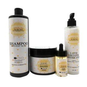 Kit completo capelli secchi shampoo fialoide maschera latte lisciante