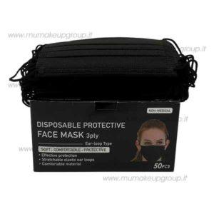 mascherina nera monouso 50 pezzi black