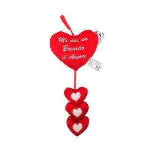 cuscinetto cuore con tris di cuoricini pendenti