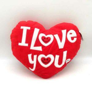 cuscino a forma di cuore vellutato I love you