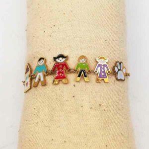 Bracciale family colorato in acciaio Kipi