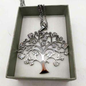 Collana albero della vita in acciaio con cuori di strass kipi