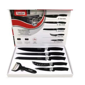 set 5 coltelli da cucina con pelapatate black
