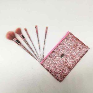 kit pennelli manico glitter con pochette