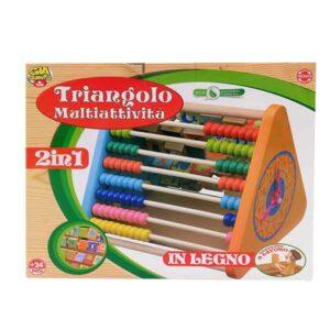 triangolo multiattività in legno con pallottoliere