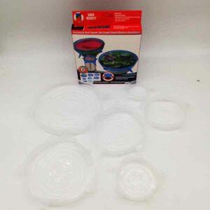 set 6 coperchi in silicone trasparenti