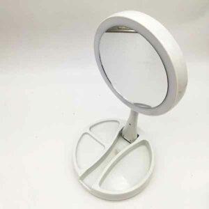 doppio specchio circolare ingranditore 10 x con luci led JG 988