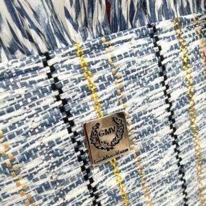 borsa estiva paglia azzurra con frange GMV