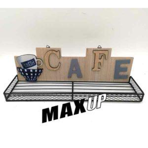 mensola da cucina con scritta cafe legno e metallo