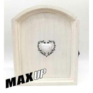 Cassetta portachiavi in legno stile shabby cuore