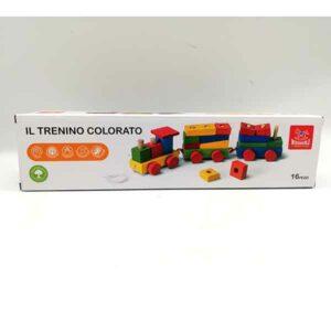 Trenino in legno colorato 16 pezzi