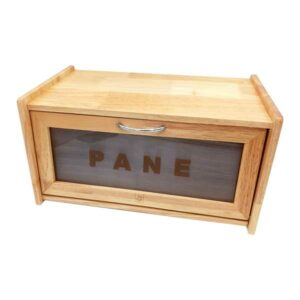 Portapane in legno con anta trasparente