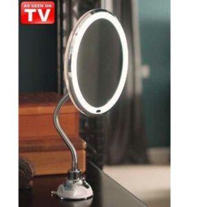 specchio 10x flessibile luminoso con ventosa