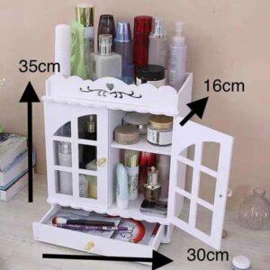 Porta cosmetici in legno con finestra