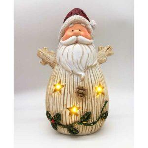 Babbo Natale effetto legno bianco con luci