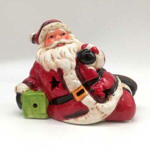 Babbo Natale in ceramica con luci led
