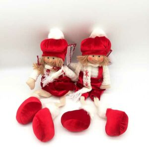 Bambola natalizia seduta vestito rosso 20813