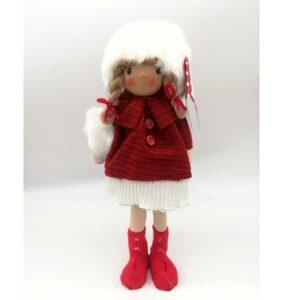 Bambola natalizia alzata cappotto rosso 20819