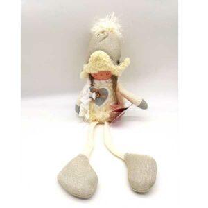 Bambola natalizia fatina bianca seduta 21165