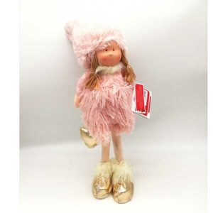 Bambola natalizia fatina rosa alzata 21160