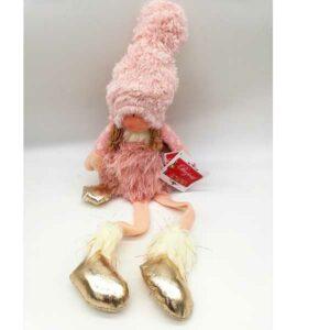 Bambola natalizia fatina rosa seduta 21161