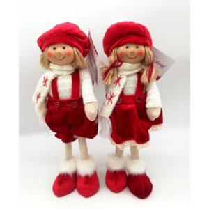 Bambola natalizia vestito rosso velluto alzata 20812