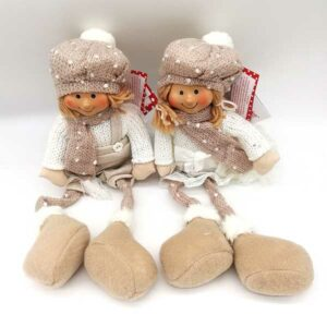 Bambola natalizia beige seduta 20815