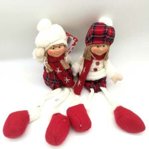 Bambola natalizia vestito scozzese seduta 20817