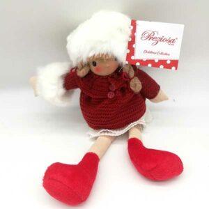Bambola natalizia cappotto rosso seduta 20821