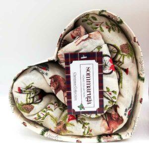 Confezione cuore con tovaglia Sommaruga natalizia