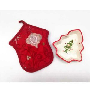 Confezione portaoggetti albero in ceramica con presina in cotone