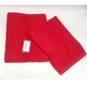 Coppia asciugamani 1+1 rosso natale sommaruga